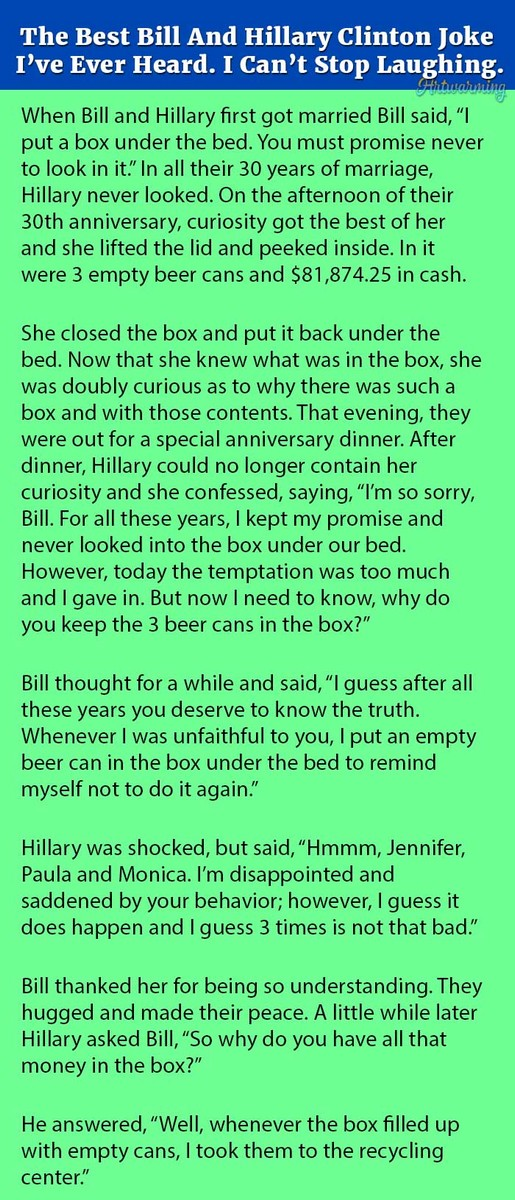 Save The Best Bill And Hillary Clinton Joke I've Ever Heard. I Can't Stop Laughing.