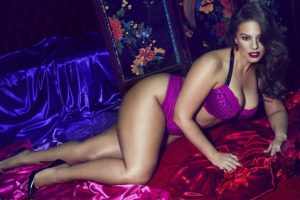 Ashley Graham Purple Lingerie Shoot