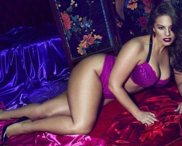 Ashley Graham Purple Lingerie Shoot