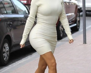 Kim Kardashian white skin tight mini dress
