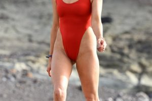 Jessica Cunningham In Red Swimsuit