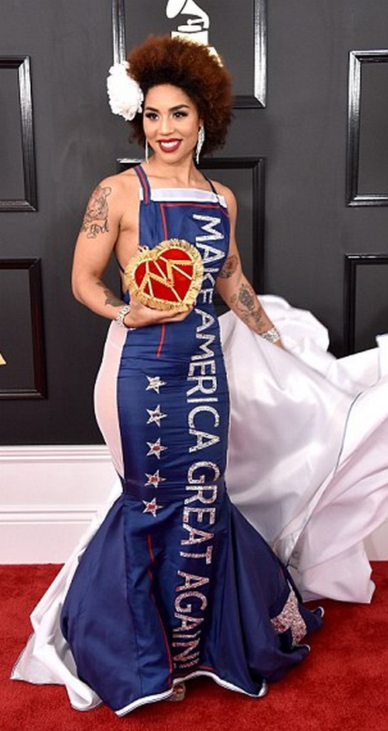 Joy Villa Singer Joy Villa in Trump Dress at Grammys 2017