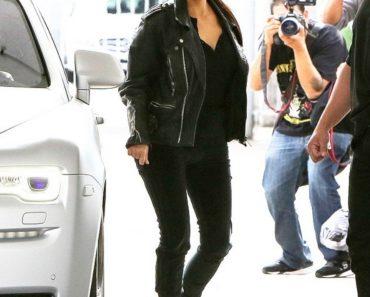 Kim Kardashian Black Velvet Pants - Kim Kardashian Black Sunglasses