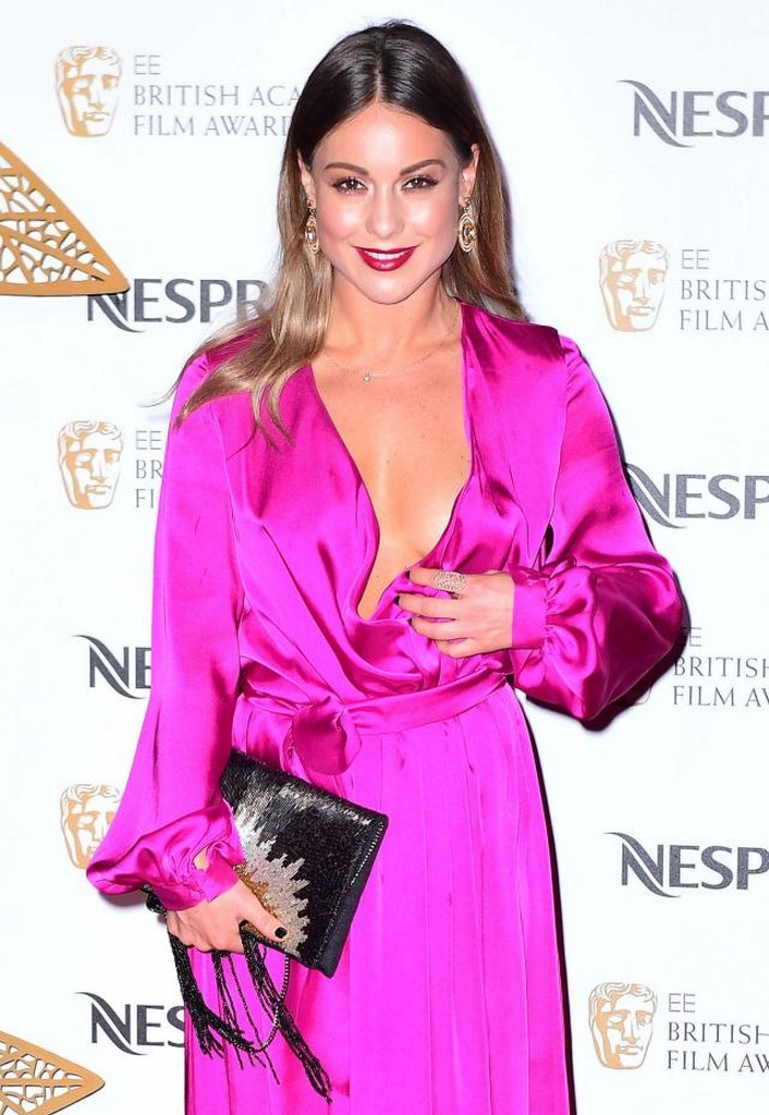 Louise Thompson Louise Thompson Slipping Nip in Braless Plunging Fuschia Gown
